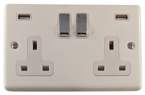 G&H CW2910 Standard Plate Matt White 2 Gang Double 13A Switched Plug Socket 2.1A USB